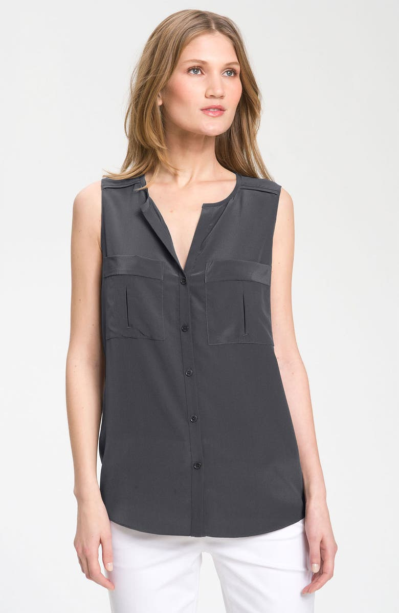 NORDSTROM COLLECTION Sleeveless Fluid Silk Blouse, Main, color, 010
