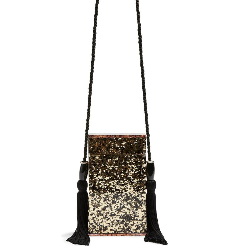 TOPSHOP Como Glitter Tassel Shoulder Bag, Main, color, BLACK MULTI