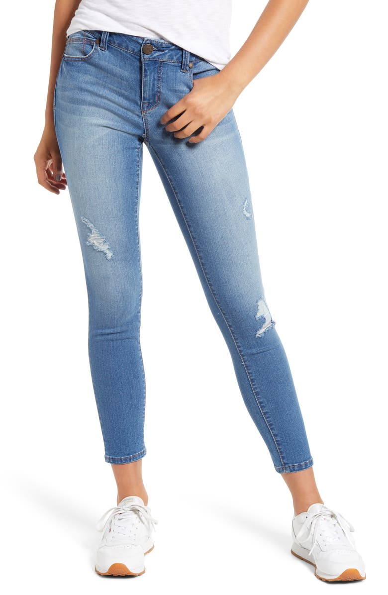 1822 DENIM RE:Denim Distressed Ankle Skinny Jeans, Main, color, RECYCLED GARY MED WASH