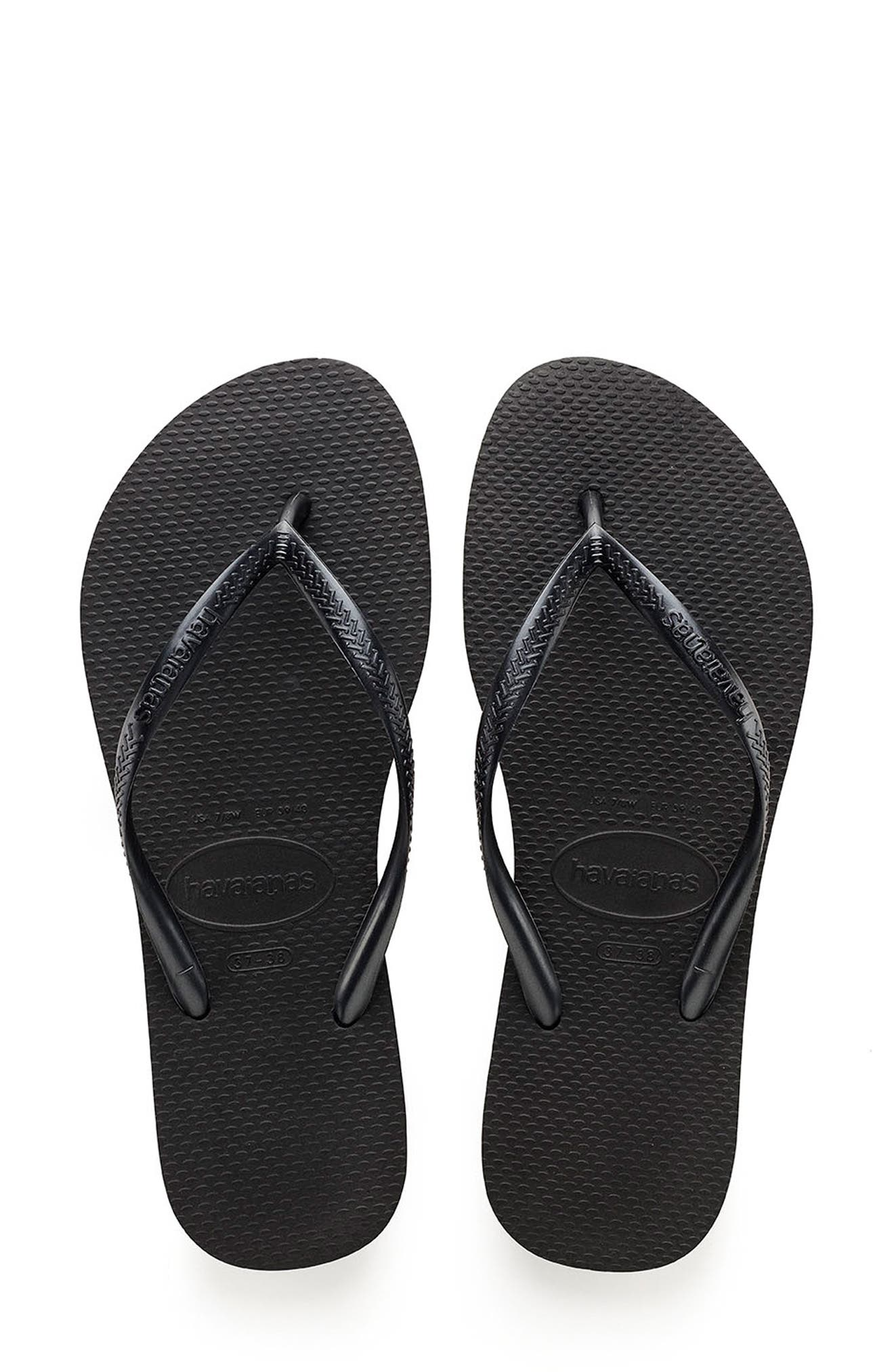 A classic all-rubber flip-flop features an updated slim strap and a cushy footbed that delivers plenty of beach-ready style. Style Name: Havaianas Slim Flip Flop (Women). Style Number: 180007. Available in stores.
