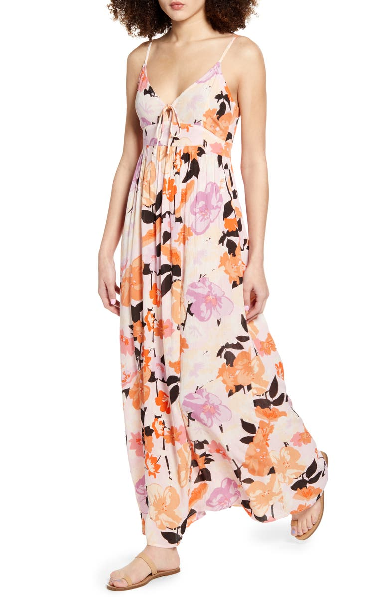 RIP CURL Lakeshore Floral Maxi Dress, Main, color, LILAC