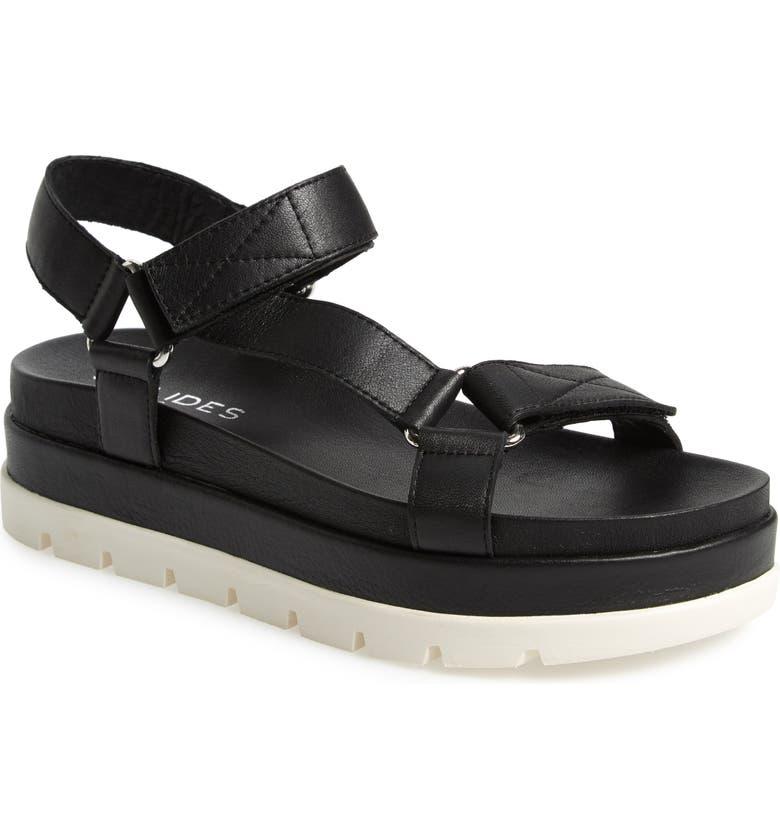 JSLIDES Blakely Platform Sandal, Main, color, BLACK LEATHER