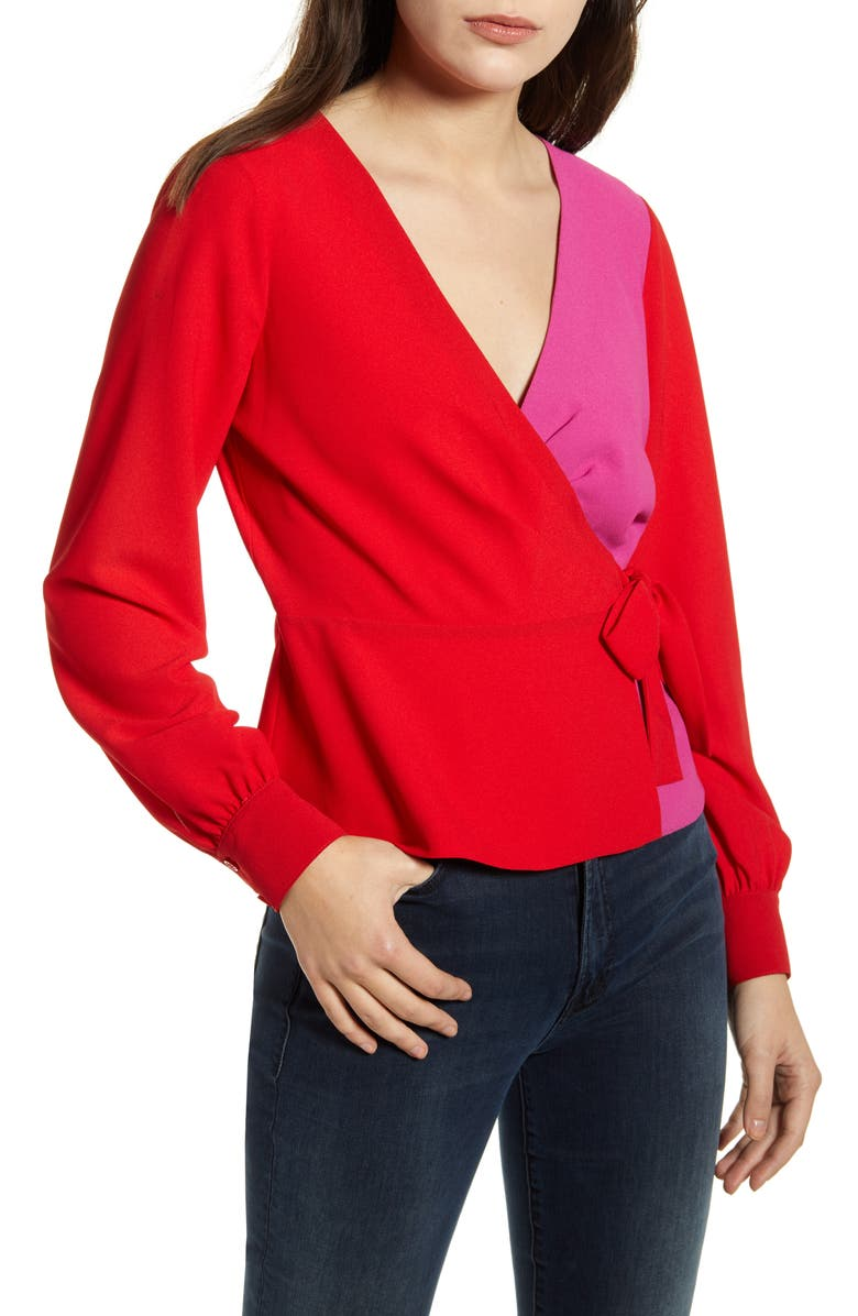 BAILEY 44 Nina Colorblock Wrap Top, Main, color, LIPSTICK