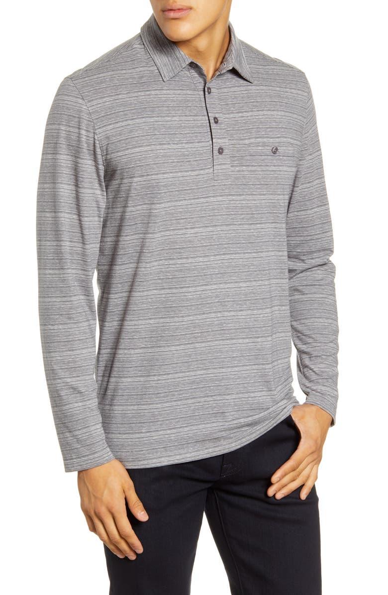 NORDSTROM MEN'S SHOP Tech-Smart Long Sleeve Pocket Polo, Main, color, GREY TORNADO BLACK STRIPE