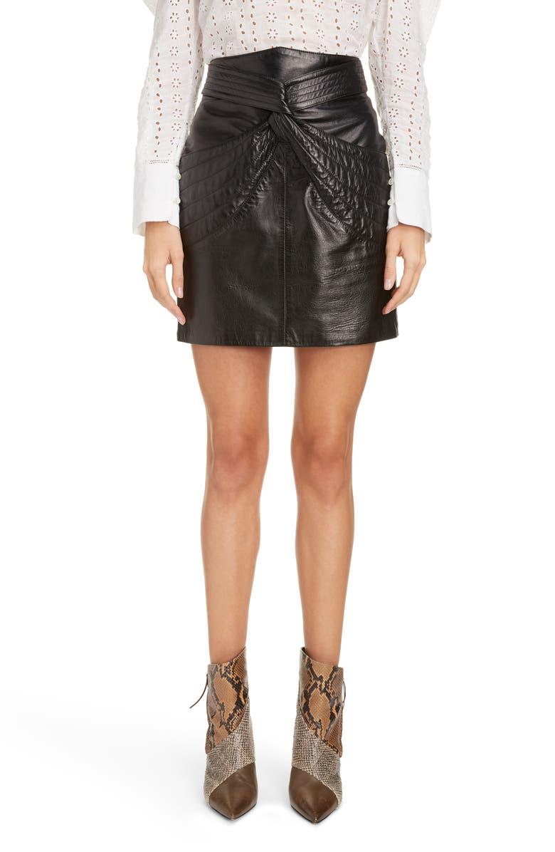 ISABEL MARANT Twist Detail Leather Miniskirt, Main, color, BLACK