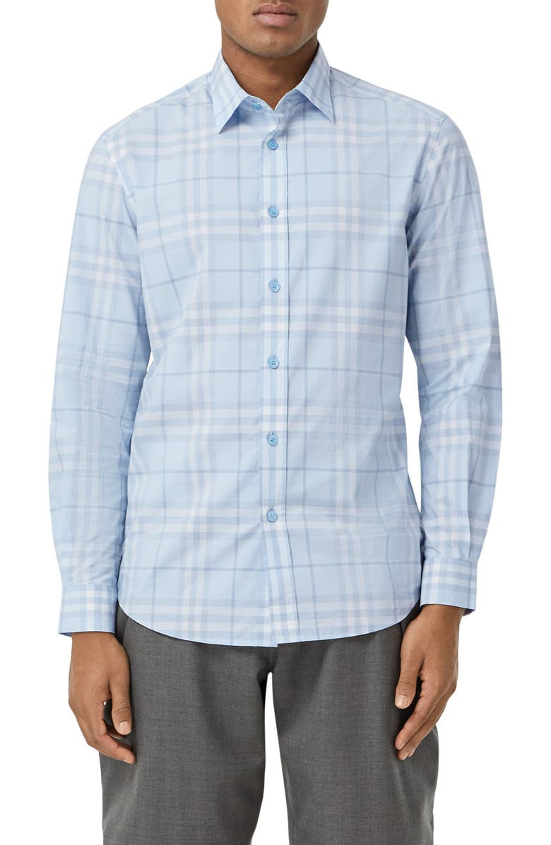 BURBERRY Caxton Check Button-Up Shirt, Main, color, DUSTY BLUEBELL IP CH