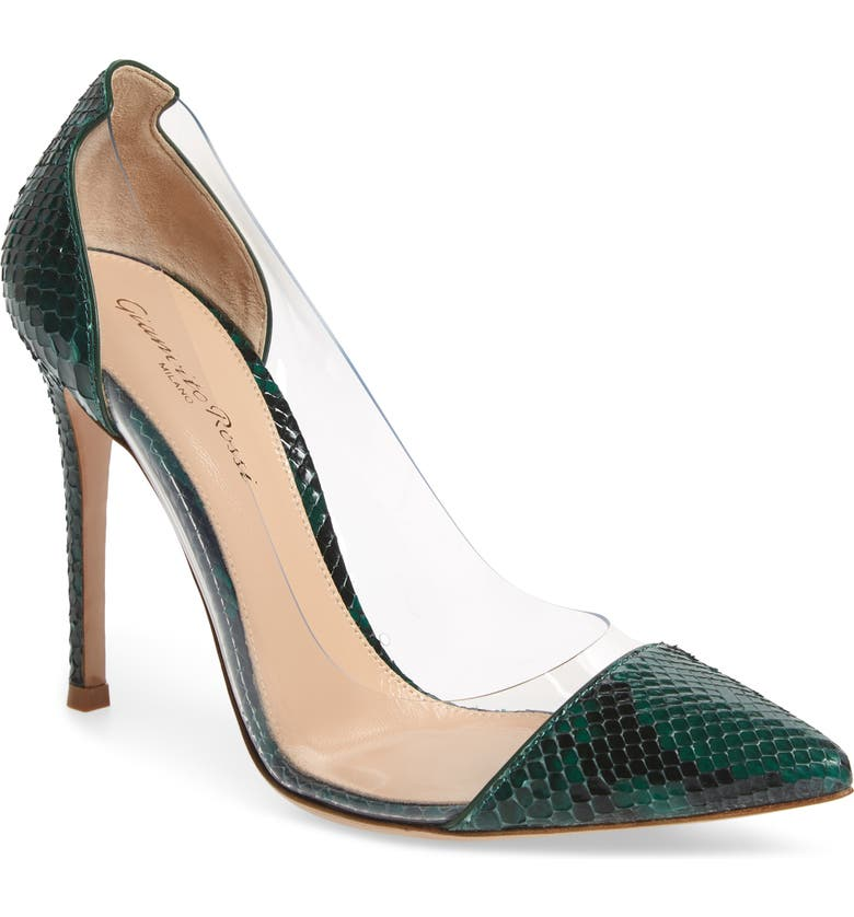 GIANVITO ROSSI Clear Pump, Main, color, LEAF/ SNAKEPRINT