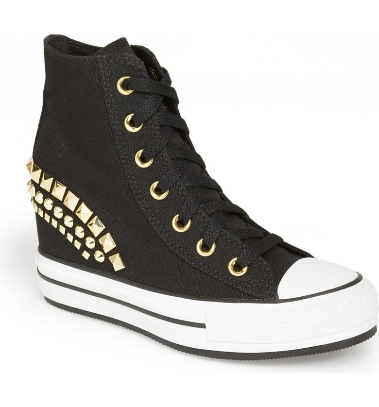 CONVERSE Chuck Taylor<sup>®</sup> High Top Wedge Sneaker, Main, color, 001