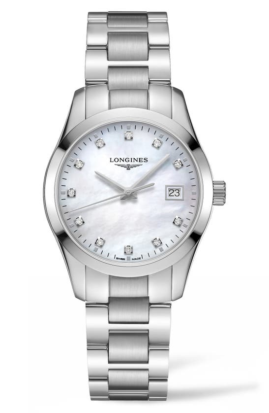 Longines Conquest Classic Diamond Bracelet Watch, 34mm In Silver/ Mop/ Silver