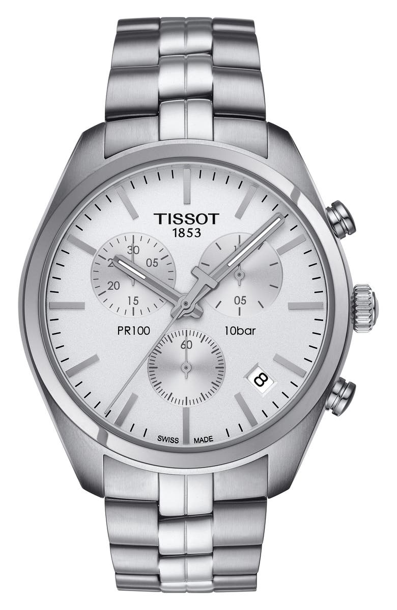 TISSOT PR100 Chronograph Bracelet Watch, 41mm, Main, color, SILVER