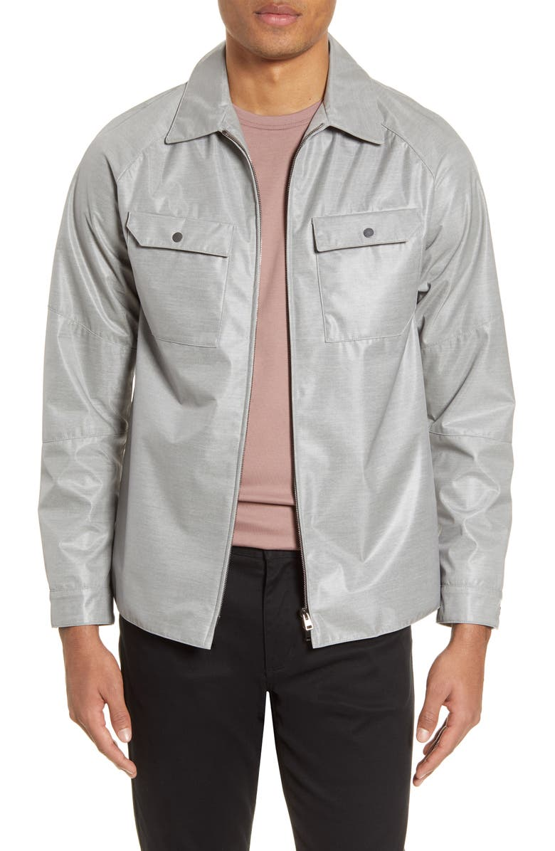CHRISTOPHER BATES Lumin Glow Water Repellent Shirt Jacket, Main, color, GREY