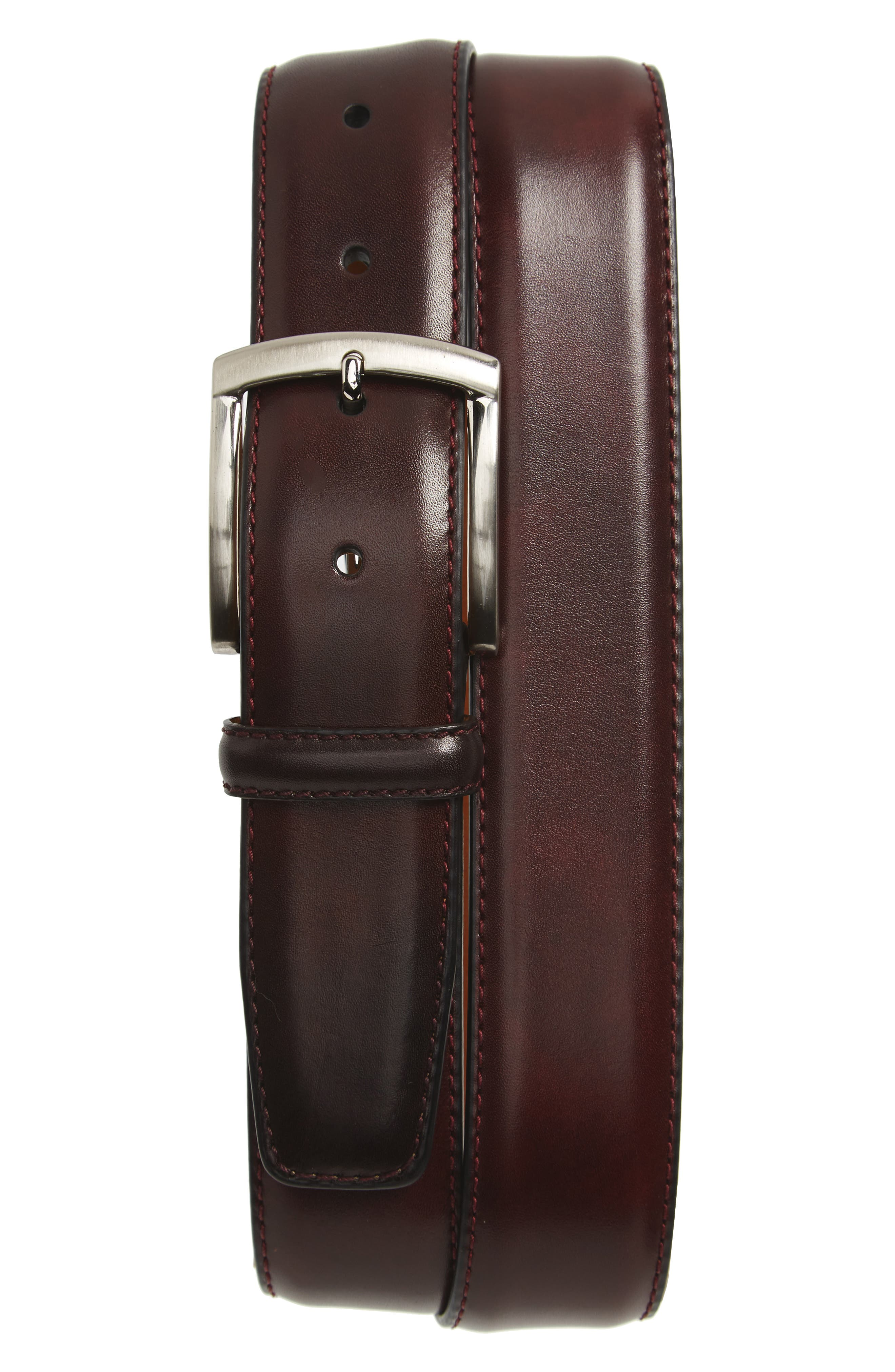 A calfskin leather belt in a rich burgundy hue is secured with brushed silvertone hardware for a polished finish. Style Name: Magnanni Calfskin Leather Belt. Style Number: 5367016. Available in stores.