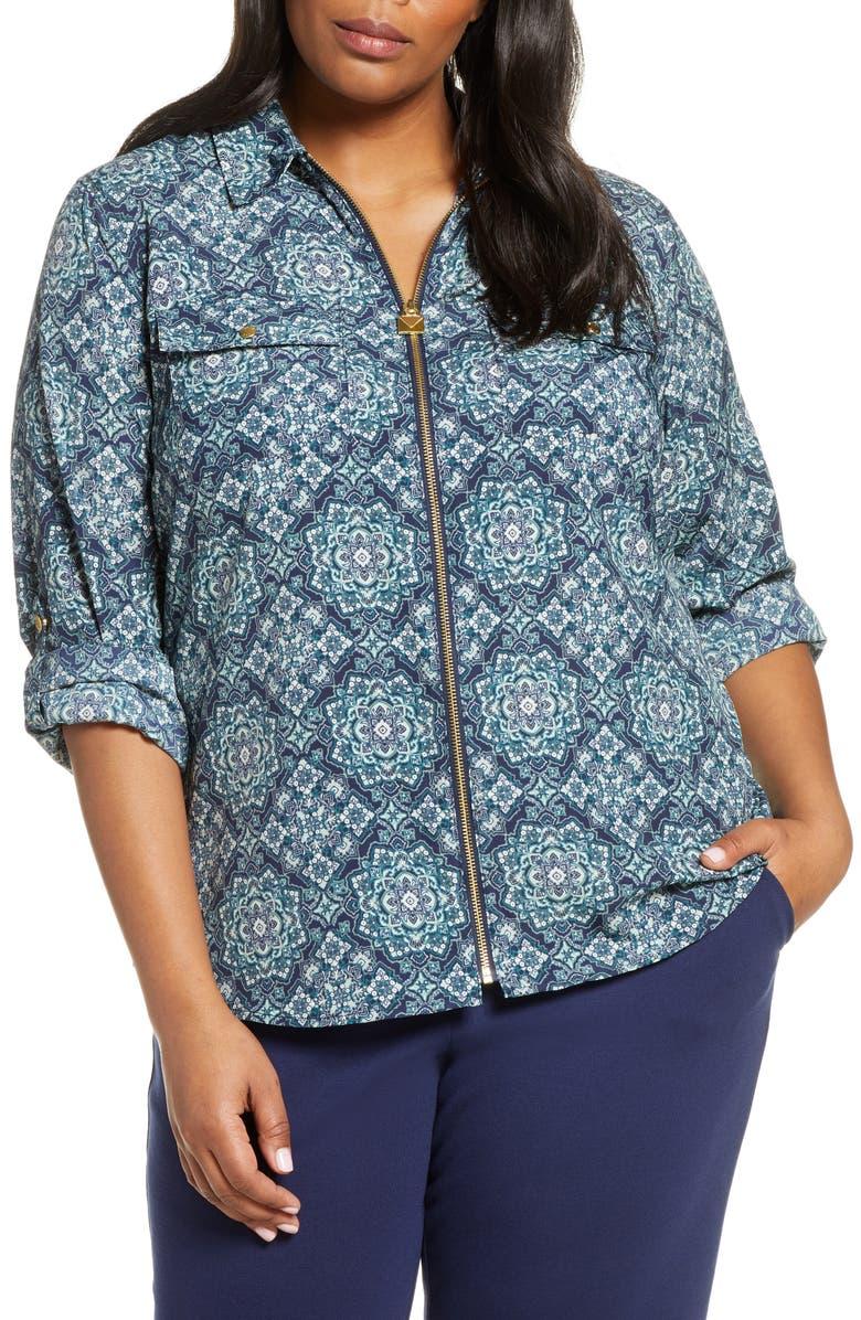 MICHAEL MICHAEL KORS Majorelle Mini Lock Zip Front Shirt, Main, color, 400