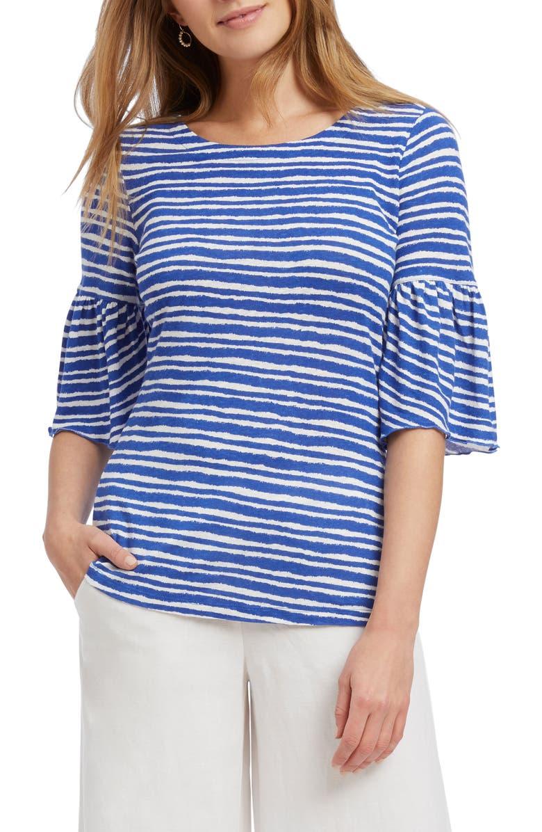 NIC ZOE Nantucket Stripe Linen Blend Top Regular Petite