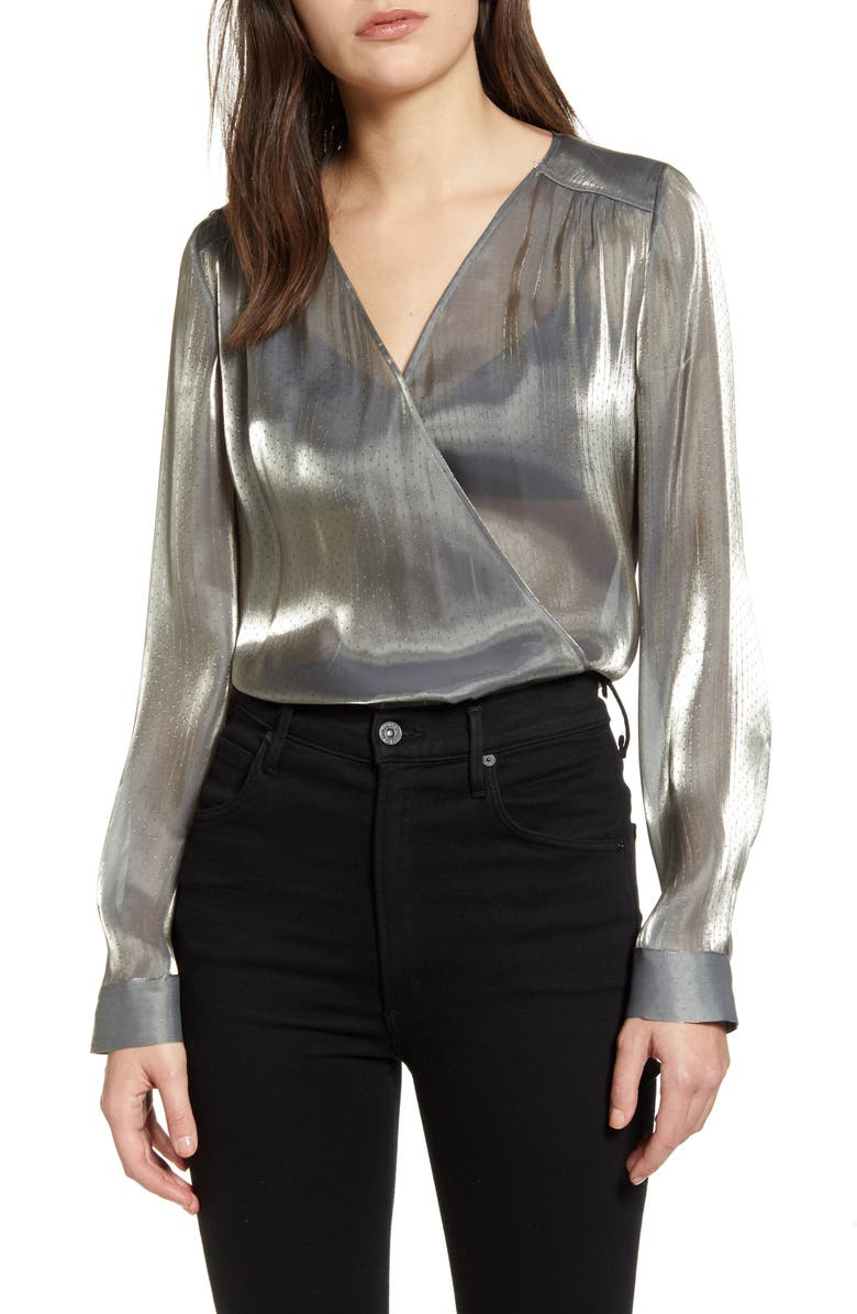 CHELSEA28 Tuck Front Dobby Metallic Top, Main, color, 040
