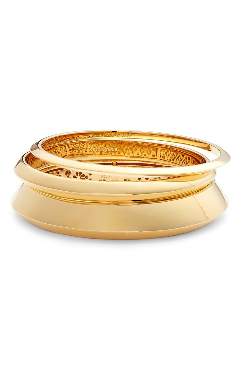 KATE SPADE NEW YORK raise the bar 3-pack bangles, Main, color, GOLD