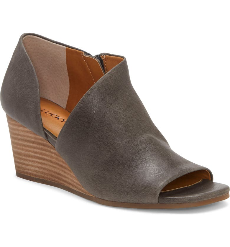 LUCKY BRAND Tylera Open Toe Wedge Bootie, Main, color, PERISCOPE LEATHER