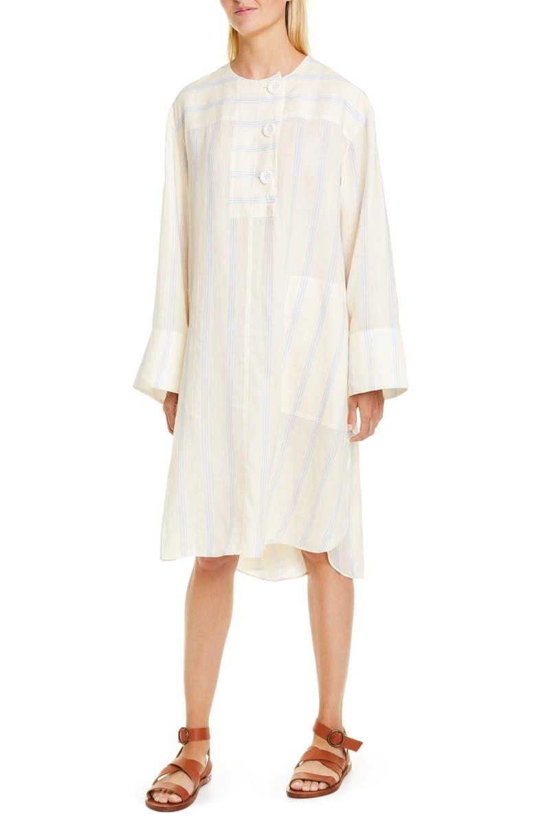 LEE MATHEWS Granada Stripe Long Sleeve Ramie Dress, Main, color, 700