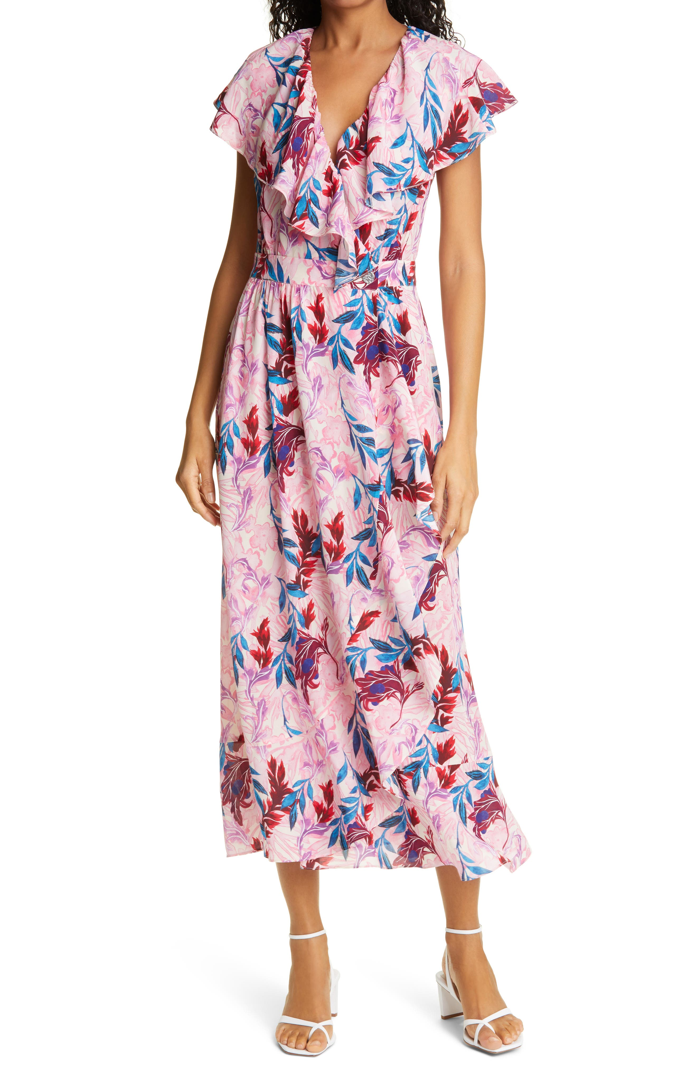 Floral Print Silk Blend Wrap Dress