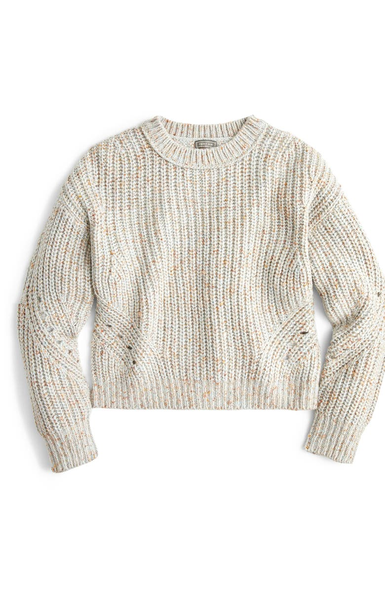 J.CREW Point Sur Chunky Rib Crewneck Sweater, Main, color, 402