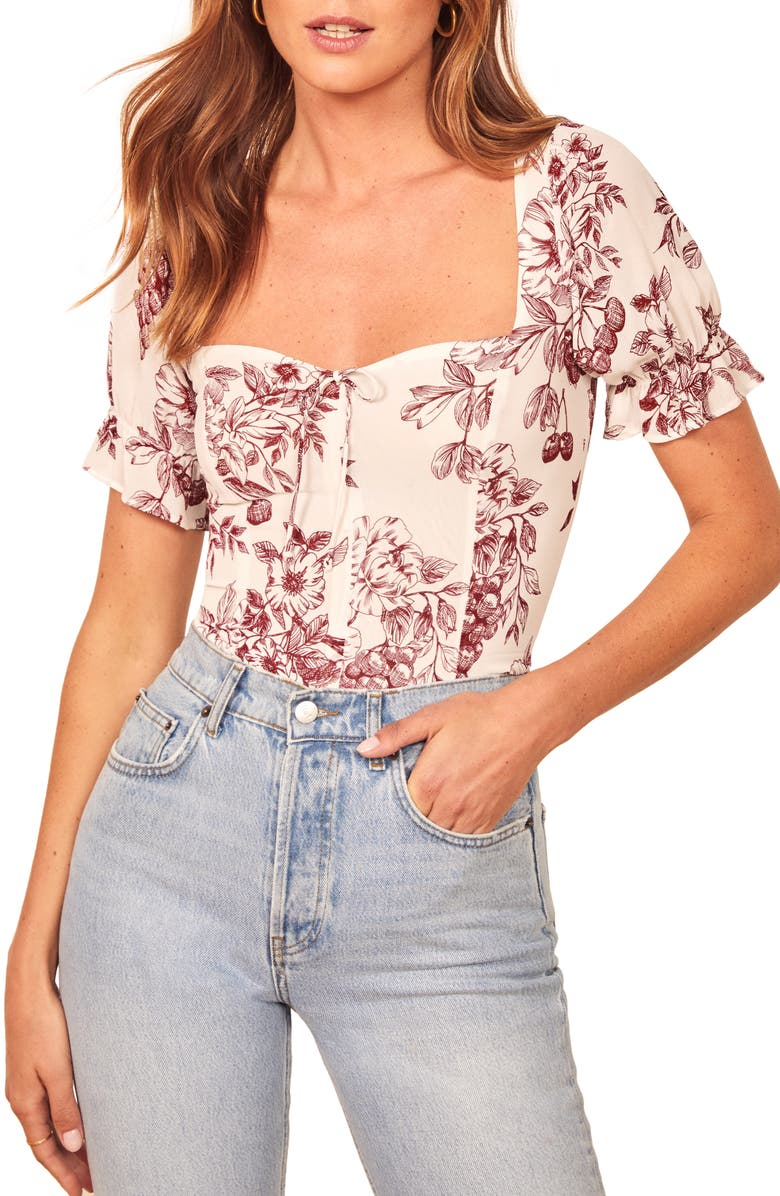 REFORMATION Delevan Ruffle Sleeve Top, Main, color, PROVENCE