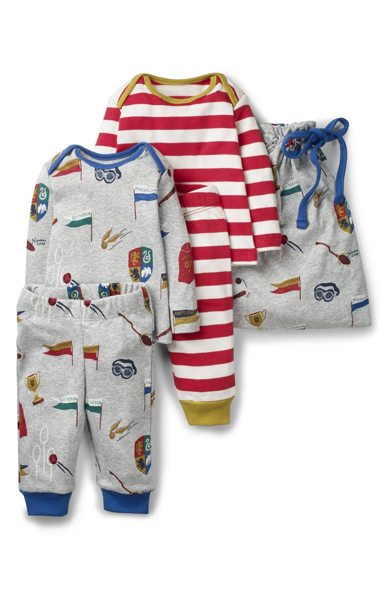 MINI BODEN Harry Potter 2-Pack Fitted Two-Piece Pajamas, Main, color, GREY MARL/ RED