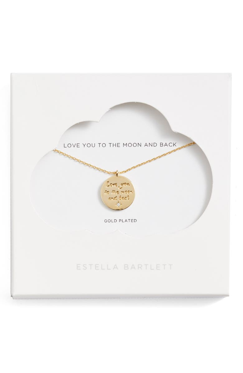 ESTELLA BARTLETT Love You to the Moon and Back Pendant Necklace, Main, color, GOLD
