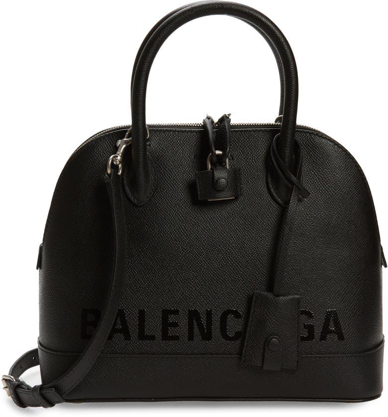 BALENCIAGA Ville Leather Crossbody Satchel, Main, color, 001