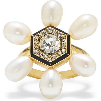 Vince Camuto Freshwater Pearl & Crystal Cocktail Ring