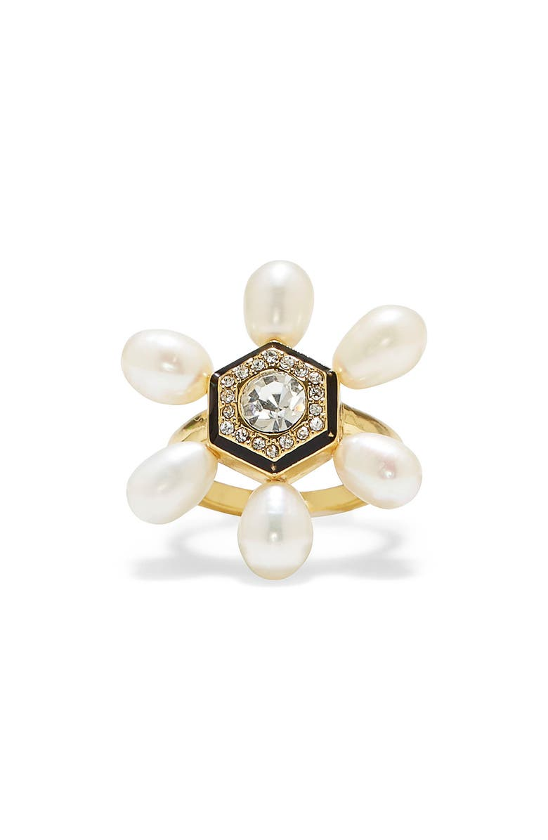 VINCE CAMUTO Freshwater Pearl & Crystal Cocktail Ring, Main, color, GOLD