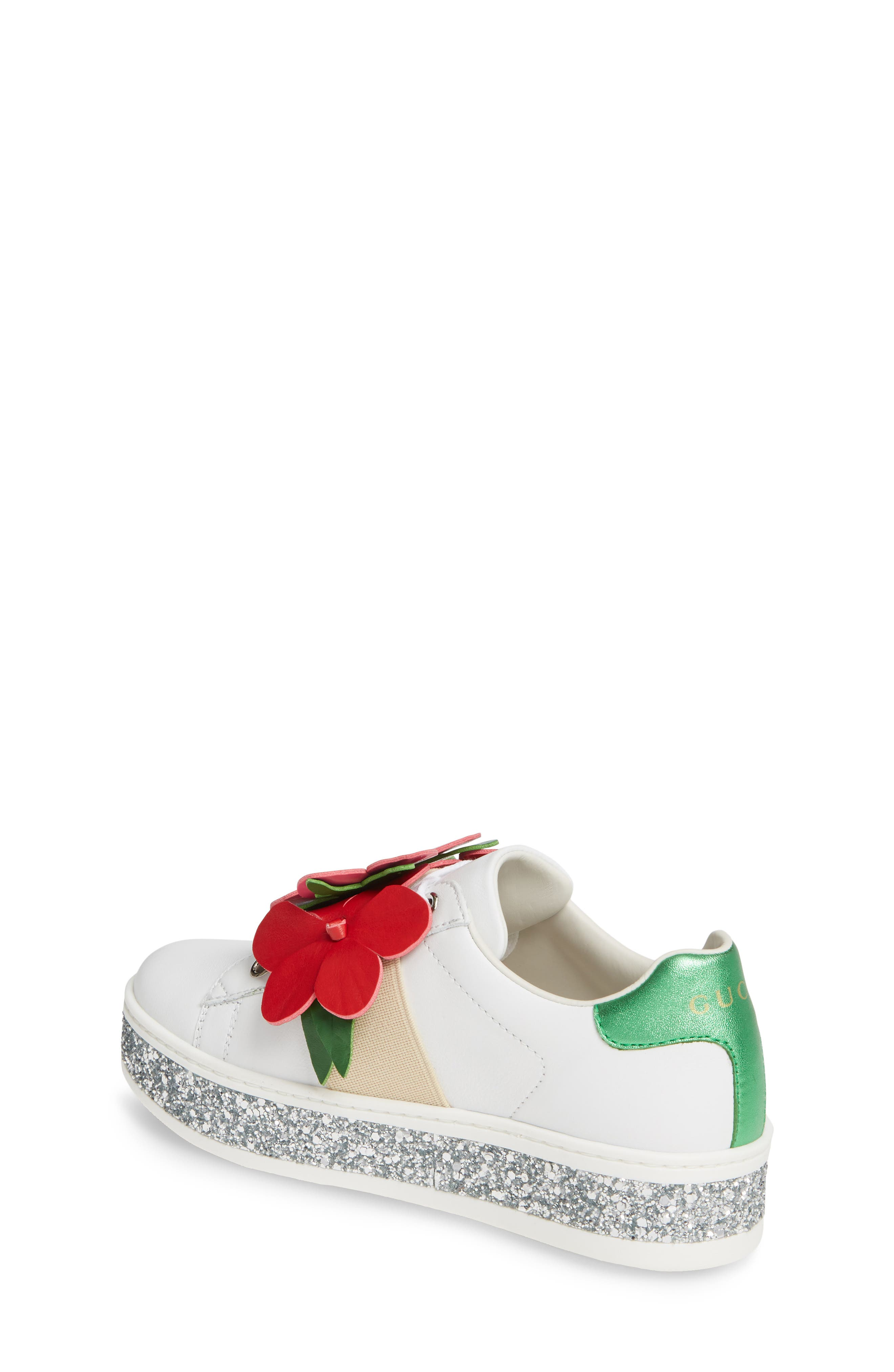 ,                             New Ace Flower Glitter Platform Sneaker,                             Alternate thumbnail 2, color,                             WHITE MULTI