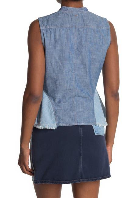 Image of G-STAR RAW Bristum Colorblock Frayed Hem Sleeveless Top