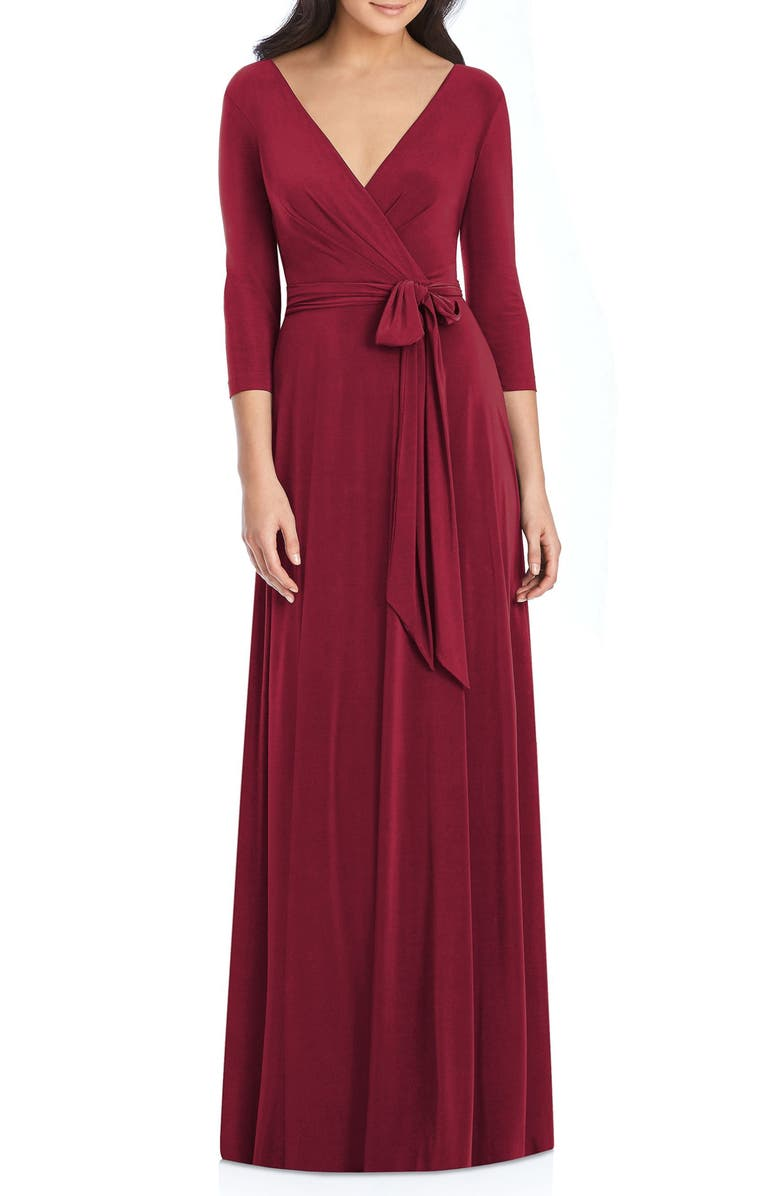 DESSY COLLECTION Jersey Tie Waist Gown, Main, color, BURGUNDY