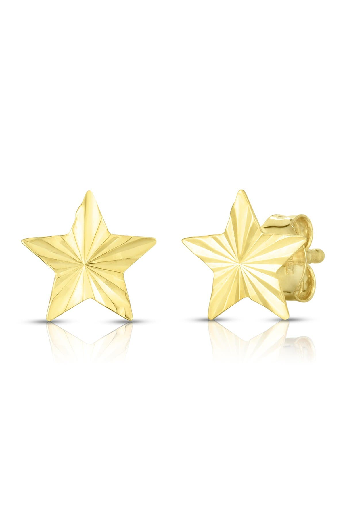 Image of Sphera Milano 14K Yellow Gold Diamond Cut Star Stud Earrings