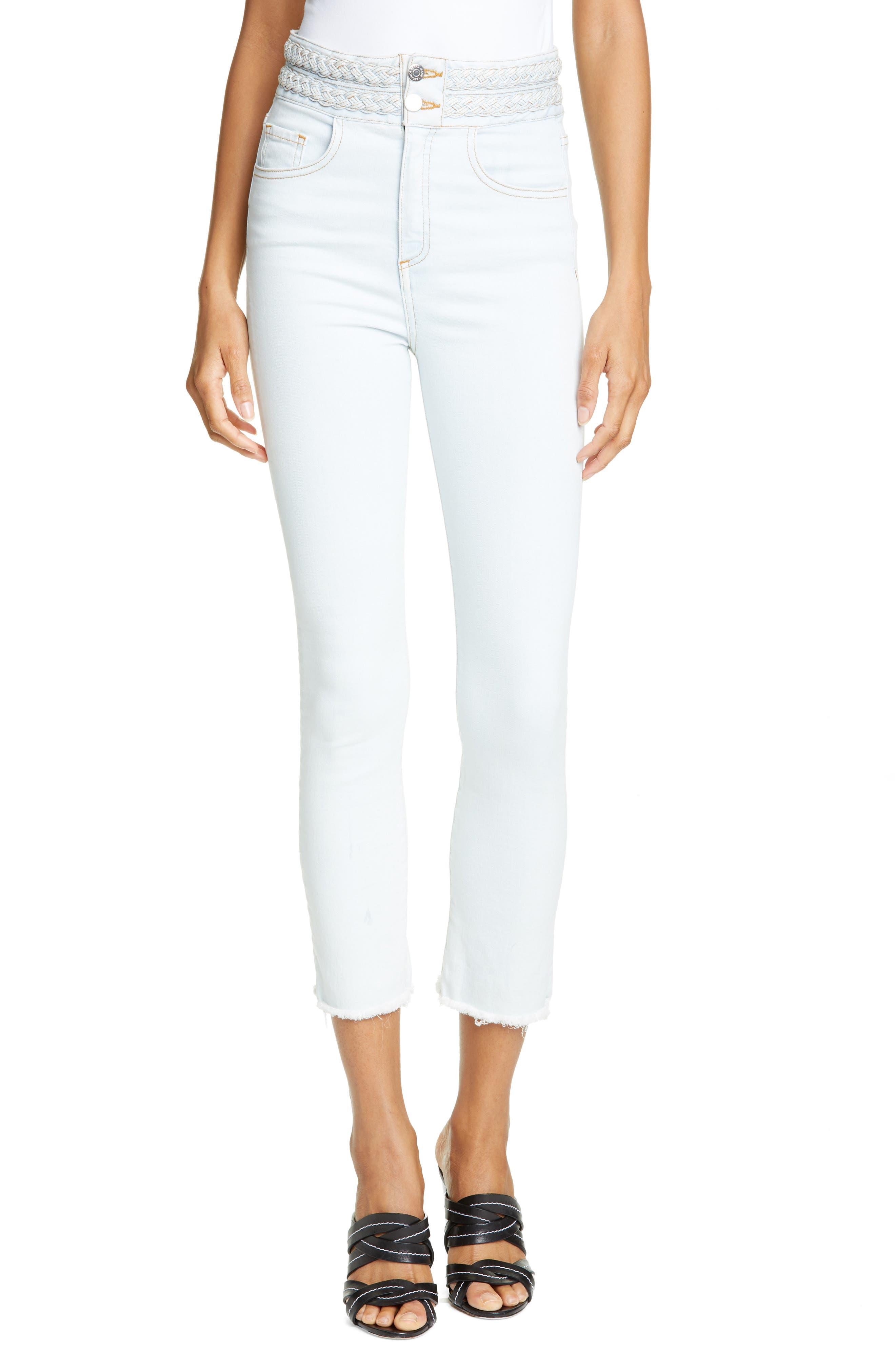 Veronica Beard Carly Braided Waist Kick Flare Jeans (Belize)