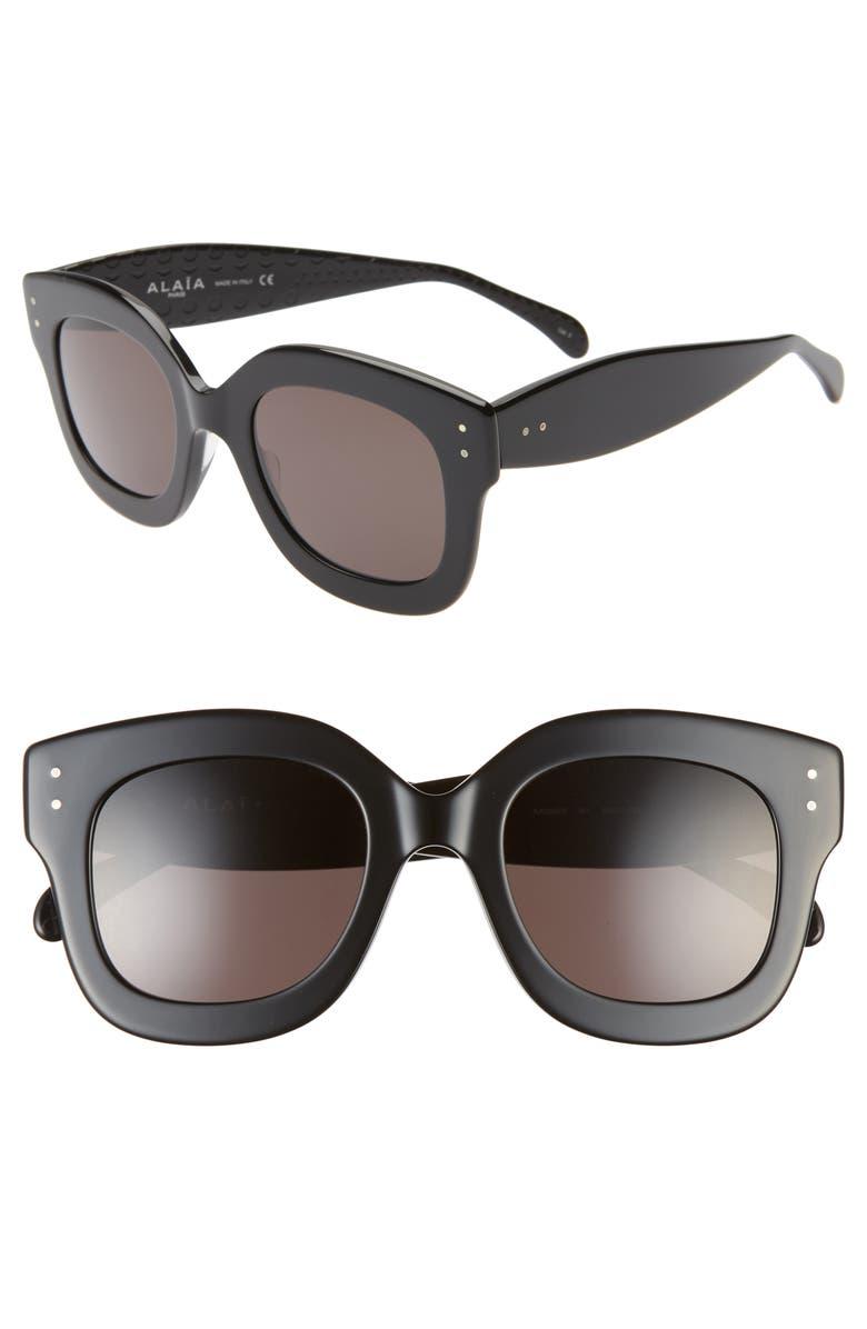 ALAÏA 50mm Square Sunglasses, Main, color, BLACK