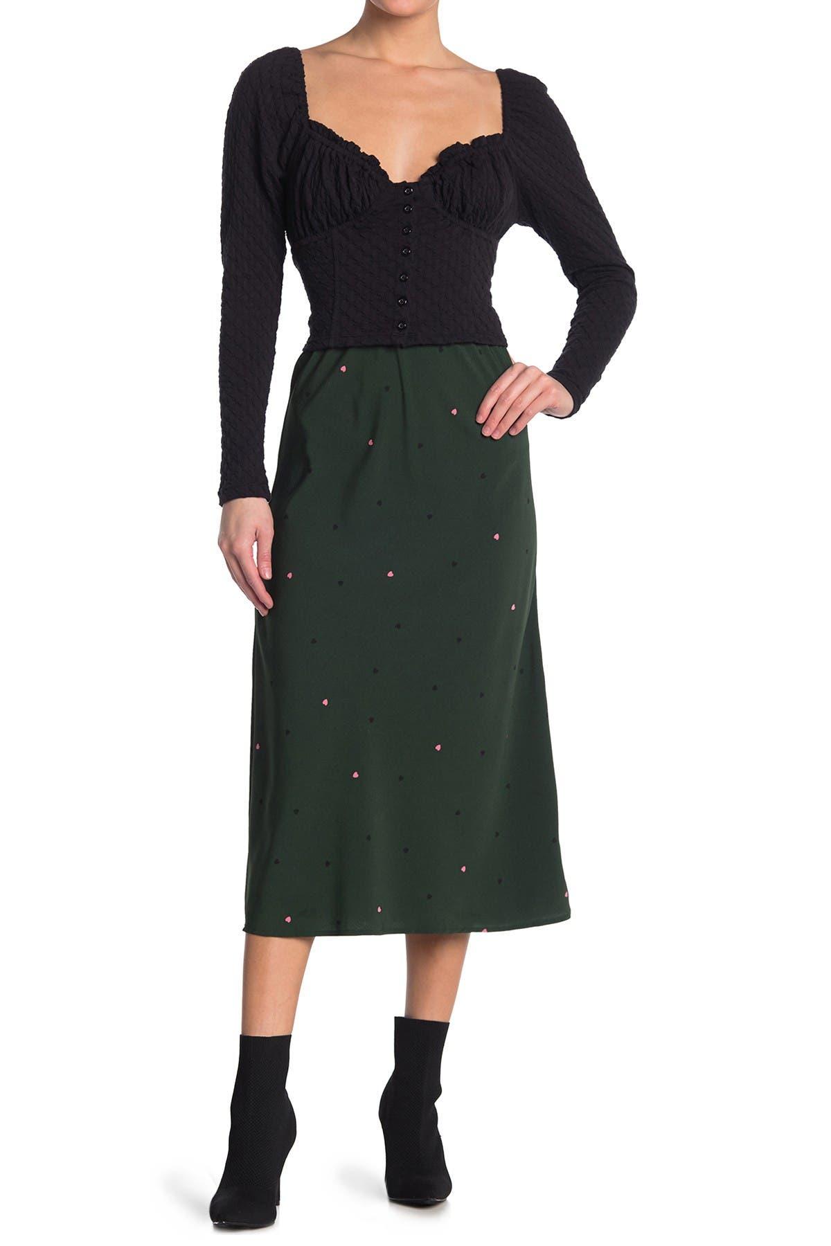 Image of Bobeau Lyndon Polka Dot Bias Midi Skirt