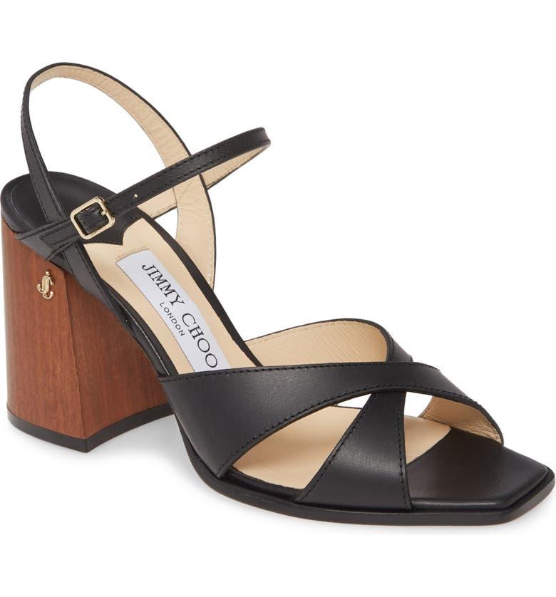 JIMMY CHOO Joya Leather Sandal, Main, color, 001
