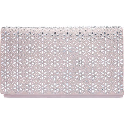 Nina Crystal Flower Embellished Clutch - Pink