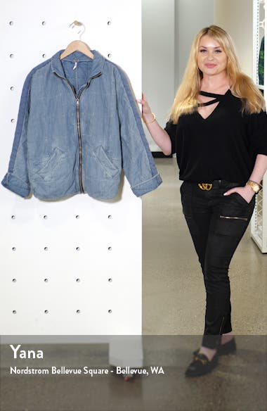Dolman Sleeve Quilted Denim Jacket, sales video thumbnail