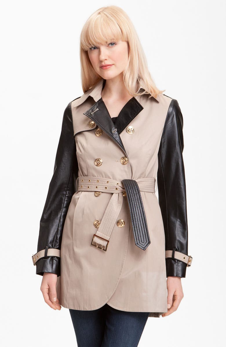 STEVE MADDEN Double Breasted Mixed Media Trench Coat, Main, color, 250