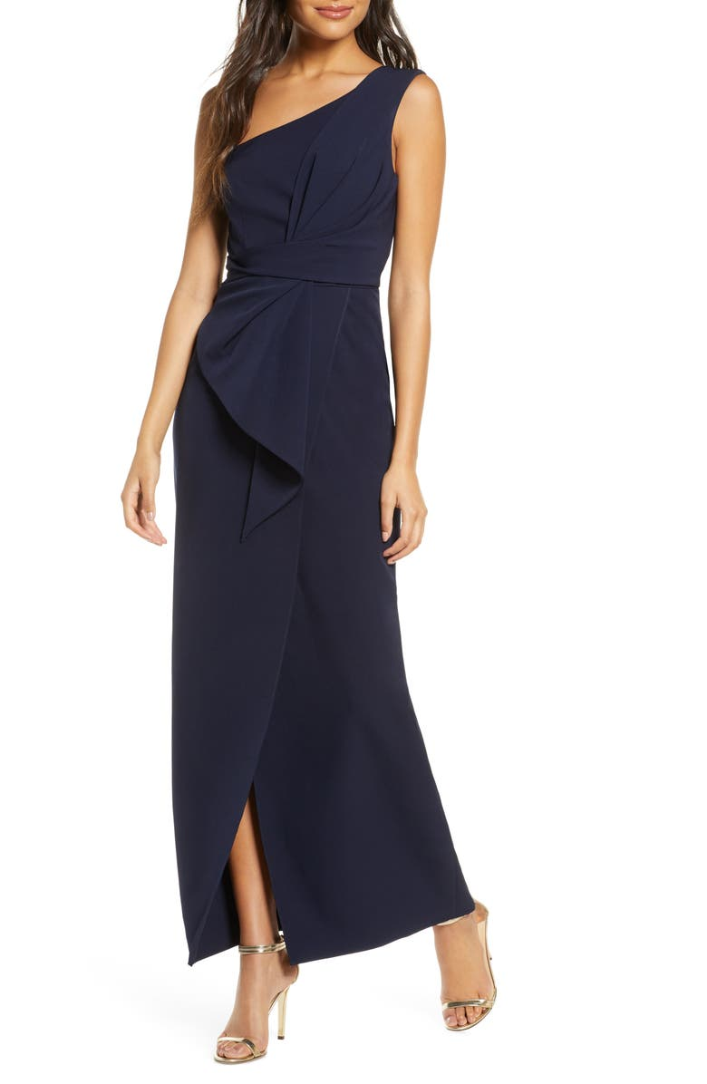 ELIZA J One-Shoulder Laguna Crepe Evening Gown, Main, color, NAVY