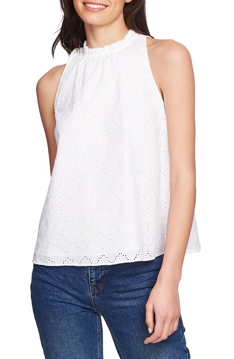 1.STATE Sleeveless Cotton Eyelet Top, Main, color, 145