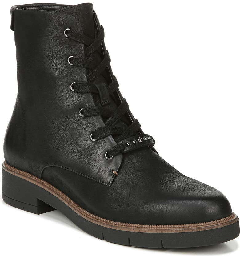 DR. SCHOLL'S Guild Combat Boot, Main, color, BLACK LEATHER