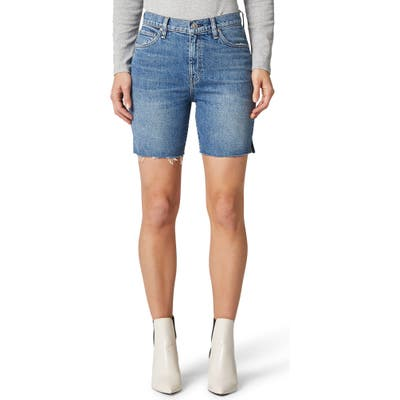 Hudson Jeans Hana High Waist Cutoff Denim Biker Shorts, Blue