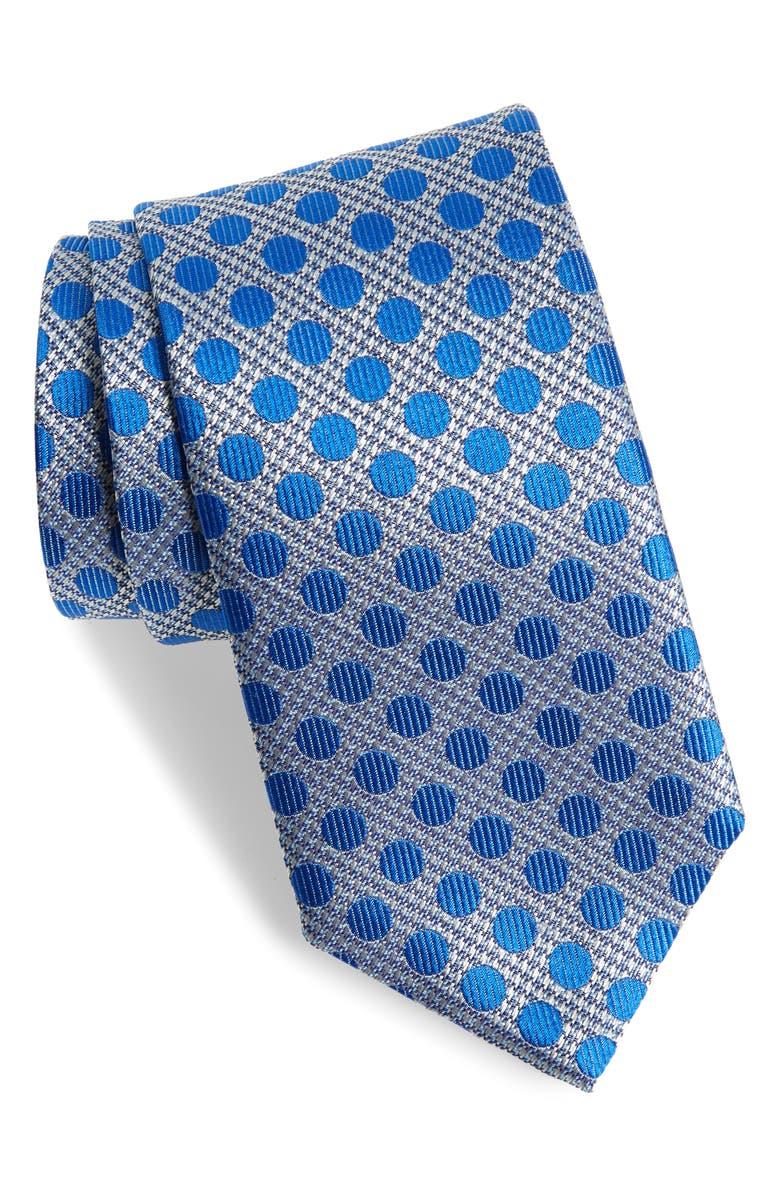 DAVID DONAHUE Dot Silk Tie, Main, color, BLUE