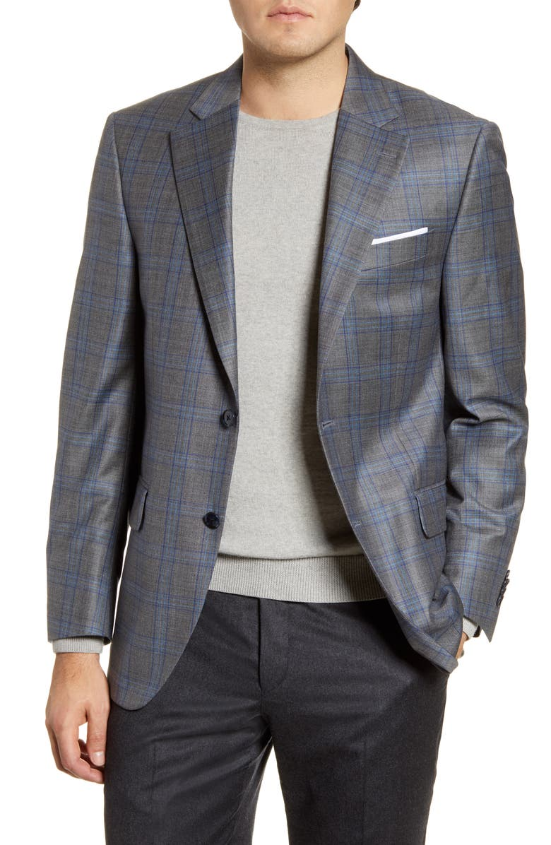 PETER MILLAR Flynn Classic Fit Plaid Wool Sport Coat, Main, color, GREY