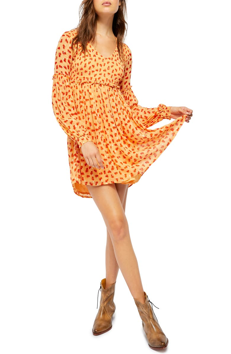 FREE PEOPLE Maria Long Sleeve Minidress, Main, color, FEM COMBO