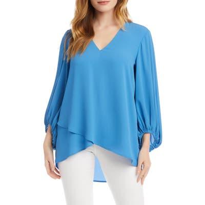 Karen Kane Crossover Blouson Sleeve Crepe Top, Blue