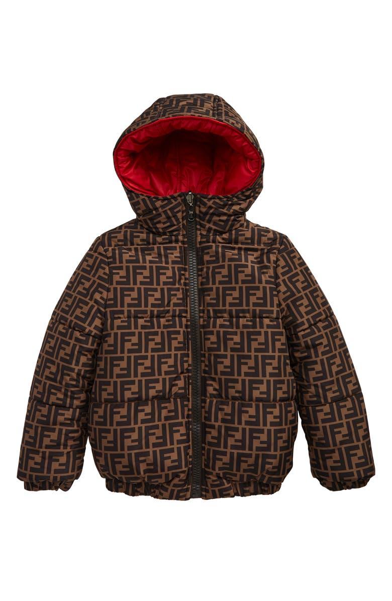 FENDI Reversible Hooded Puffer Jacket, Main, color, F0UZ4 BRN/ RED